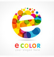 colored e logo concept vector image