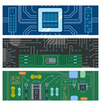 computer ic chip template microchip brochure vector image vector image