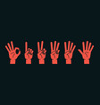 count on fingers gesture stylized hands showing vector image