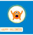 Cute cartoon orange monster Orange background vector image
