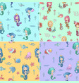 cute seamless patterns set with mermaids vector image