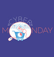 cyber monday gift cart vector image