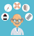 doctor cartoon with medical symbols vector image vector image