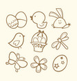 doodle line art easter icons vector image vector image