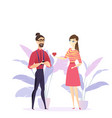 flat girl confesses love young guy vector image vector image