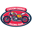 flat tracker motorcycle badge design vector image vector image