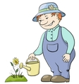 gardener waters flower vector image vector image