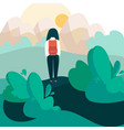 girl with backpack hiking alone in nature vector image