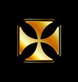 golden cross pattee symbol on black vector image