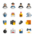 Hacker Flat Color Icons Set vector image