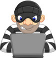hacker thief in mask stealing personal information vector image vector image