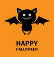 happy halloween cute bat flying silhouette icon vector image