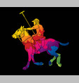 horses polo player sport cartoon graphic vector image vector image