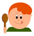 hungry little boy on white background vector image vector image