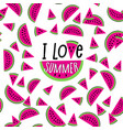 i love summer watermelon seamless pattern vector image