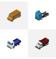 isometric transport set of truck lorry autobus vector image vector image