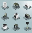 kitchen color gradient isometric icons set vector image