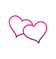 line hearts together to love and romantic symbol vector image vector image