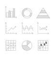 Lines Icons Set of Graph and Chart vector image vector image