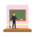 male teacher with boy in the classroom vector image