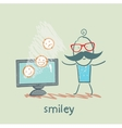 man watching TV with smiles vector image vector image
