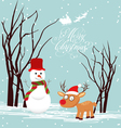 Merry christmas card with snowmans and deer vector image vector image