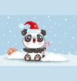 panda on snow in kawaii style for christmas vector image vector image
