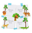 paper template with animals in background vector image vector image
