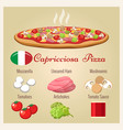 pizza capricciosa with ingredients vector image
