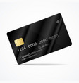realistic detailed 3d black plastic credit card vector image vector image
