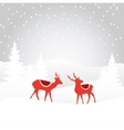 Retro christmas card invitation with reindeer vector image vector image