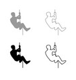 rock climber icon outline set grey black color vector image