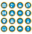 safety icons blue circle set vector image vector image