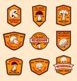 set emblems with mushrooms design element for vector image