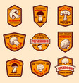 set emblems with mushrooms design element vector image vector image