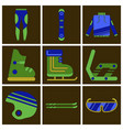 set of icons in flat design ski equipment vector image vector image