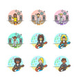 set of multicolor music icons vector image