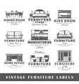 set of vintage furniture labels vector image