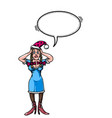 stressed woman wearing santa hat-100 vector image vector image