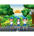 Three kids and their bikes at the park vector image vector image