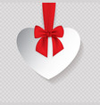 valentine heart tied with red ribbon and bow vector image vector image