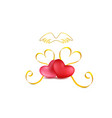 valentines day festive composition with two red vector image vector image