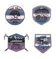 vintage camp logos mountain badges set unusual vector image vector image