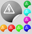 voltage icon sign Set of eight multi colored round vector image