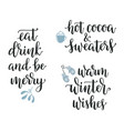 winter and christmas calligraphy set vector image