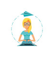 woman with laptop computer and airplane paper vector image vector image