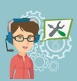 young caucasian technical support operator vector image vector image