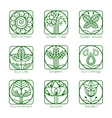 Set of outline tree monograms and logos Abstract vector image