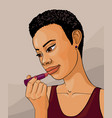 african girl with lipstick cartoon vector image