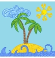 Tropical island with palms and waves vector image